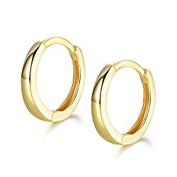 【High Quality Material】: This Small Hoop Earrings is made of 925 Sterling Silver. High Polished, Yellow Gold Plated. Nickel-free, Hypoallergenic, and Shiny Forever. Perfect to keep as a Daily Jewelry. Our Silver Earrings are suitable for almost all O...