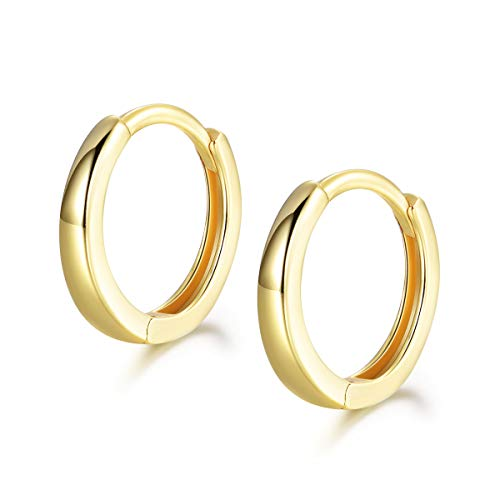 Shuxin Hoop Earrings 925 Sterling Silver, Glossy Huggie Hinged Earrings for Women & Men, Diameter 13mm Hypoallergenic Gold Small Sleeper Hoops Earrings