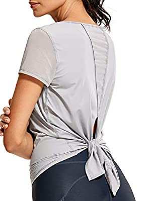 CRZ YOGA Women's Breezy Feeling Workout Shirts Loose Fit Short Sleeve Tee Mesh Tie Back Athletic Gym Clothes Gull Gray Medium