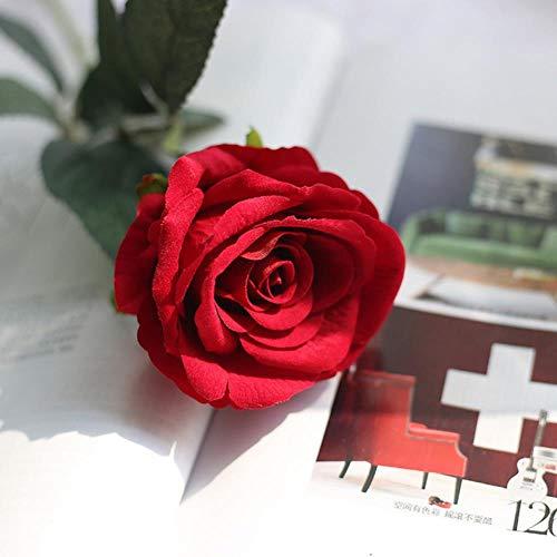 5st 51cm lange tak bloemen boeket mooie witte zijden rozen kunstbloemen bruiloft thuis tafel decor schikken nep bloem, rood