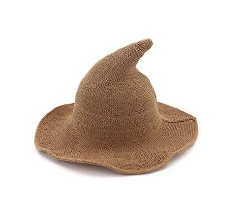 CHRONSTYLE Sombrero de Bruja Moderno, Gorra de Lana Plegable de ala para Disfraces de Fiesta de Halloween y Otoño o Invierno (Marrón)