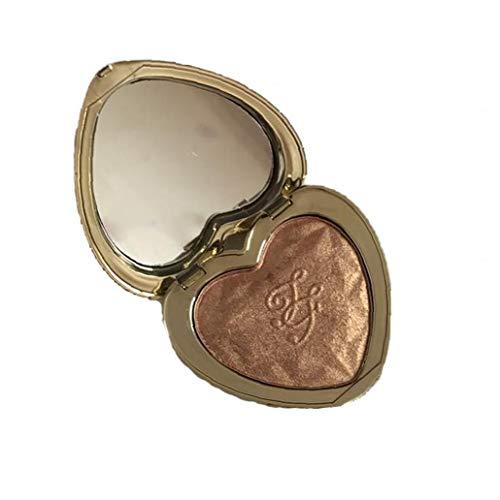 En forme de coeur surligneur poudre Palette de maquillage éclaircissant Nacré Glitter poudre à pâte Contour fard à paupières en poudre (en or brun)