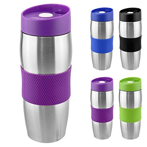 WELLGRO® Thermobecher 380 ml - Edelstahl - BPA-frei - Isolierbecher - Farbe wählbar, Farbe:Lila
