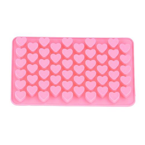 MKNzone 1 Stampo in Silicone con 55 Cavità per Cubetti di Ghiaccio, Biscotti, Tortini, Cioccolato, Dolci - A forma di cuore, Consegna colore casuale(20 X 16 X 2.5 cm)