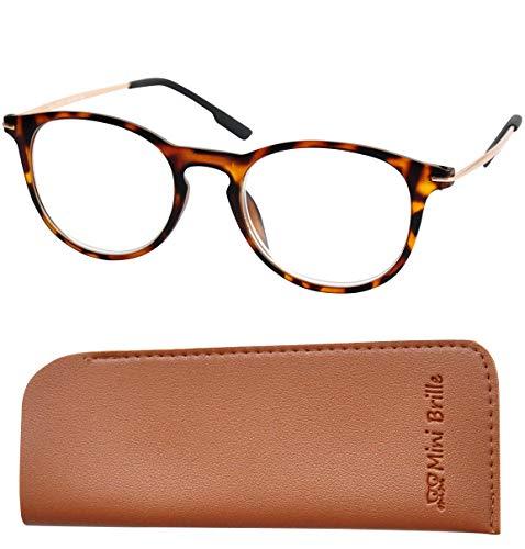 Nerd Lesebrille mit große RUNDE Gläsern - mit GRATIS Brillenbeutel, Kunststoff Rahmen (Leopard Braun) und Metall Bügeln (Gold), Hornbrille Damen und Herren +2.0 Dioptrien