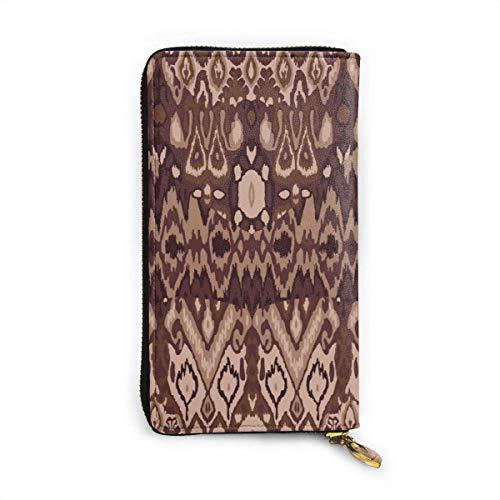JHGFG Ethnic Tribal Carpet Plaid Muster Stoffverpackung Echtes Leder Geldbörse Lange Damen Geldbörse Handtasche Multi Kartenhalter Organizer Für Frauen Personalisiert
