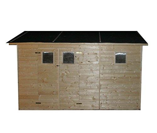 CADEMA Gartenhaus aus Holz 3,3m x 3,9m, (19mm) mit Fenstern, inkl. Fußboden, DENIA– Gerätehaus