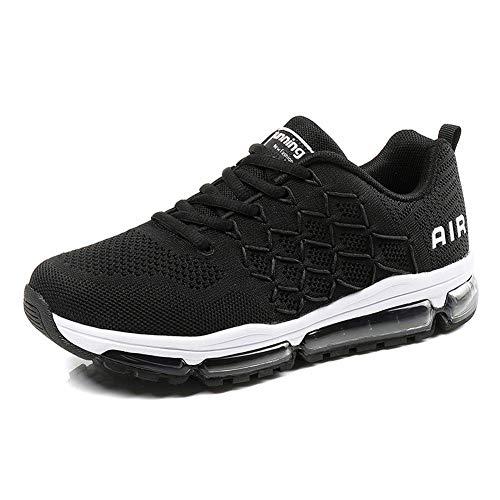 frysen Herren Damen Sportschuhe Laufschuhe mit Luftpolster Turnschuhe Profilsohle Sneakers Leichte Schuhe 1643 Black 45