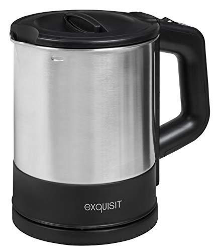 Exquisit Wasserkocher WK 3602 swi | Teekocher | 1200 Watt | Edelstahlwasserkocher | 1 Liter | Schwarz-Inox