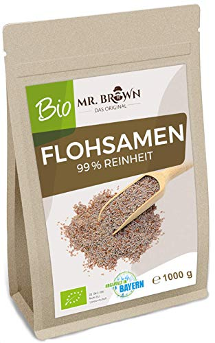 Mr. Brown BIO Flohsamen aus Indien 1 KG | 99 % Reinheit | aus kontrolliert biologischem Anbau | 1.000 GR | Vorratspackung 1,0 kg | abgefüllt in Bayern | aus Indien