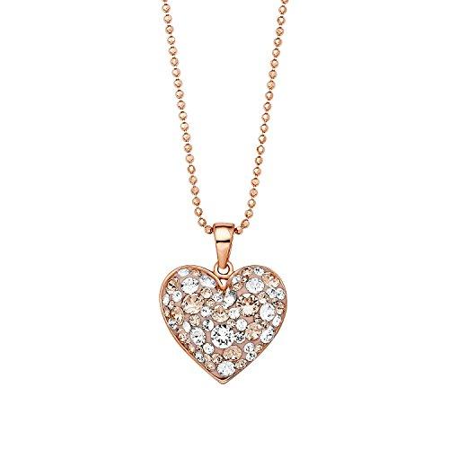 Noelani Damen-Kette 42 cm mit Anhänger Herz rosévergoldet veredelt mit Kristallen von Swarovski