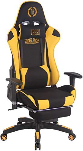 CLP Silla Gaming Turbo En 3 Tapizados Disponibles I Silla Gamer Giratoria & Regulable En Altura, Color:Negro/Amarillo, Material de Base:Tela