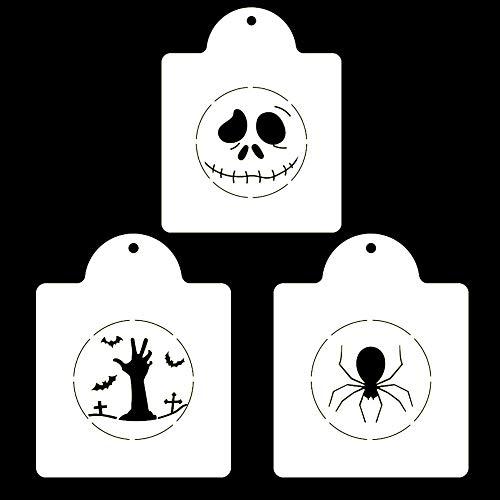 Halloween Serie Totenkopf Spinne Zombie Keks Druck EdgCake Kaffee Pulver Sieb 3er Set