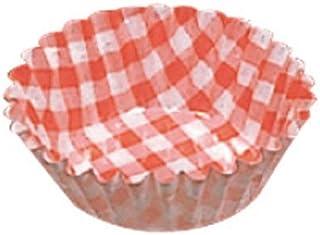 東洋アルミ カラフルなお弁当カップ 紙ケースカラー(500枚入)6号 深口 チェック赤