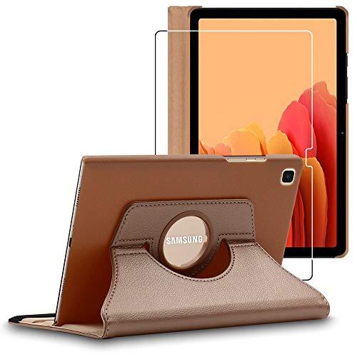 ebestStar - Funda Compatible con Samsung Galaxy Tab A7 10.4 T505 (2020) Carcasa Cuero PU, Giratoria 360 Grados, Función Soporte, Dorado + Cristal Templado [Tab S7: 247.6 x 157.4 x 7 mm, 10.4'']
