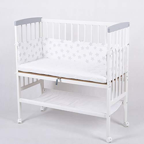 Beistellbett Babybett 90x40 höhenverstellbar mit Matratze Kinderbett weiß 52380W-D01