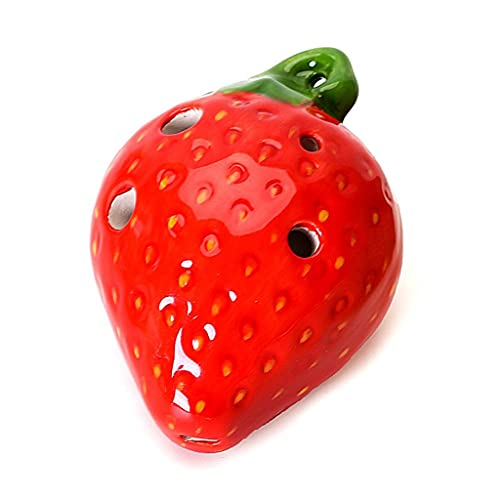 Ocarinas Four-Hole Strawberry Beginner Practicing for Children Finger Hole Groove Design (Color : Red, Size : 5.36.7cm)