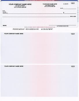 500 Printed Computer Laser Checks - Check on Top - Compatible for QuickBooks/Quicken Software - Cubes Blue Red Prismatic