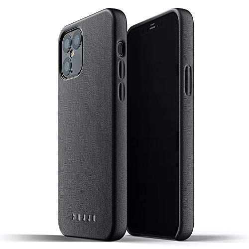 Mujjo Full Leather Case for iPhone 12 Pro / iPhone 12 | Premium Genuine Leather, Natural Aging Effect | Slim Fit Design, Wireless Charging (Black)
