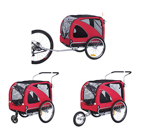 Sepnine Leopets Bike Dog Carry 3 in1 Large pet Dog Bike Trailer Bicycle Trailer with Jogger and Stroller 10202 (Red)