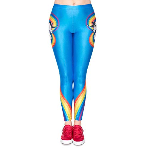 Saoye Fashion Mujeres 3D Impresión Digital Rainbow Unicornio Diseño Azul Ropa Yoga Leggings Deportes Tight Elastic Waist Sweatpants (Color : Colour, Size : 39)