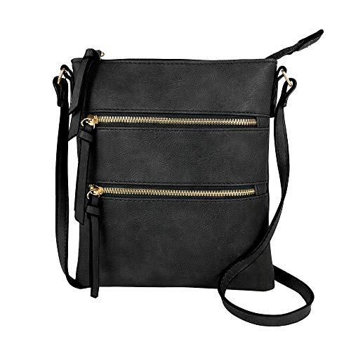 DELUXITY Essential Casual Functional Multi Pocket Double Zipper Crossbody Purse Bag for Women (Black)