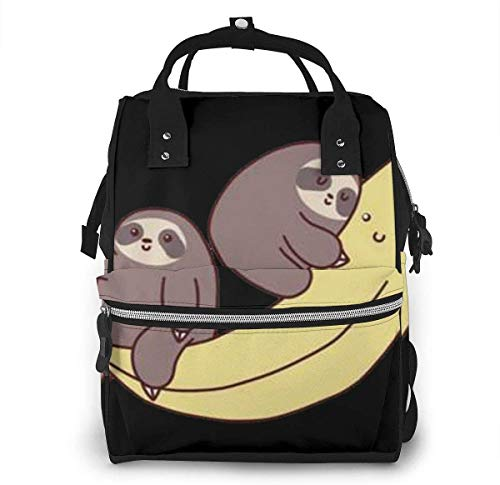Sloth Ride Banana Diaper Backpack Large Capacity Baby Bags Multi-Function Zipper Casual Travel Backpacks for Mom Dad Unisex