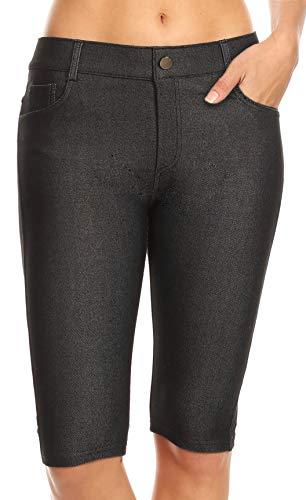 ICONOFLASH Women's Black Bermuda Shorts - Pull On Knee Length Jeggings Pockets Jean Leggings Size Large