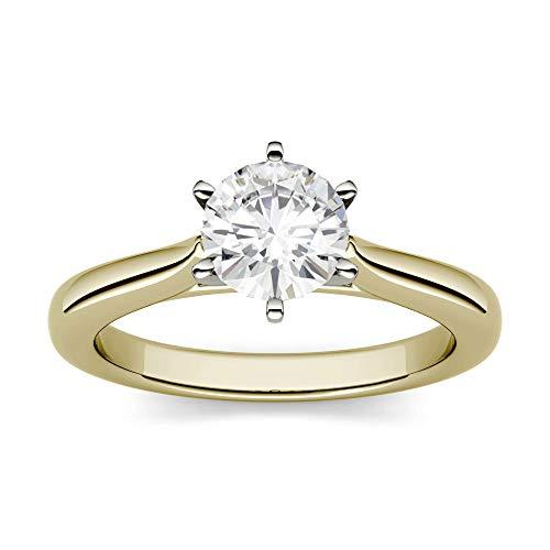 Charles & Colvard Moissanite By Charles & Colvard anillo de compromiso - Oro blanco 14K - Moissanita de 5 mm de talla redonda, 0.5 ct. DEW, talla 9,5
