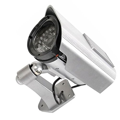 Supmico Silber Solarenergie Dummy Fake LED blinkt ¨¹berwachungskamera CCTV ¨¹berwachung Nachahmung Security Camera Warnung Blinkt