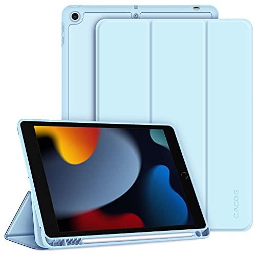 CACOE Funda Compatible con iPad 9 Generación 8 Generación 7 Generación, Ranura para bolígrafo, Ultra Slim Protectora Carcasa con Función de Soporte Compatible con iPad 10.2 2021 2020 2019, Cielo Azul