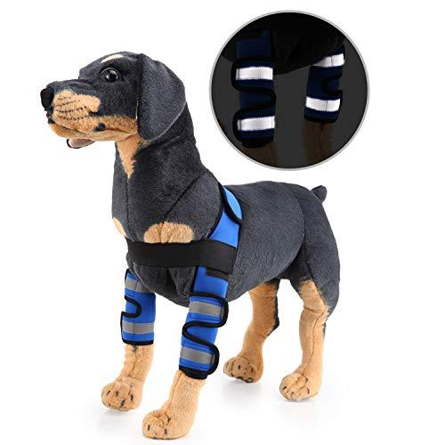 Zunea Ellenbogenschoner für Hunde und Hunde, zur Erholung von Wundheilung, für das Vorderbein, verformte ACL-Unterstützung, Schutz vor Verletzungen und Verstauchungen, S, Reflective-Blue