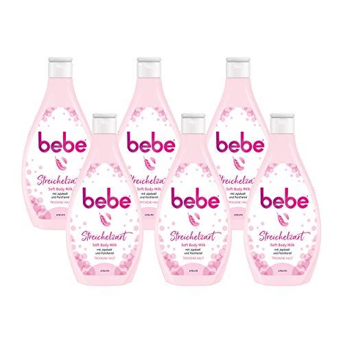 bebe Streichelzart Soft Body Milk mit Jojobaöl und Panthenol, feuchtigkeitsspendende Bodymilkfür trockene Haut (6 x 400 ml)
