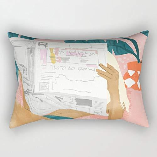 Yuanmeiju Morning News Rectangular Pillowcase Cushion Cover 20x30 Inch