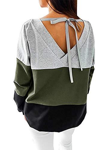 Generic Damen Sweatshirt Langarmshirt V-Ausschnitt Pullover Casual Sport Shirt Oberteile mit Tie Back, Grün,Grün, S
