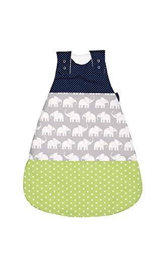 ULLENBOOM Saco de dormir de bebé para el verano Elefantes Azul Verde - Saco de dormir de bebé para el verano hecho de algodón, cómodo saco de dormir para bebés, tamaño: 56 a 62