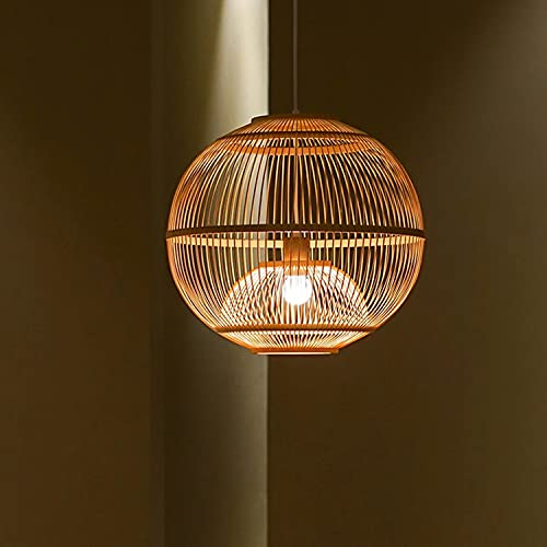 Arturest Traditional Japanese Bamboo Pendant, Artistic Southeastern Suspension Luminaire, Wabi Sabi Hanging Light Fixture, Country Crafts (25cm25cm)