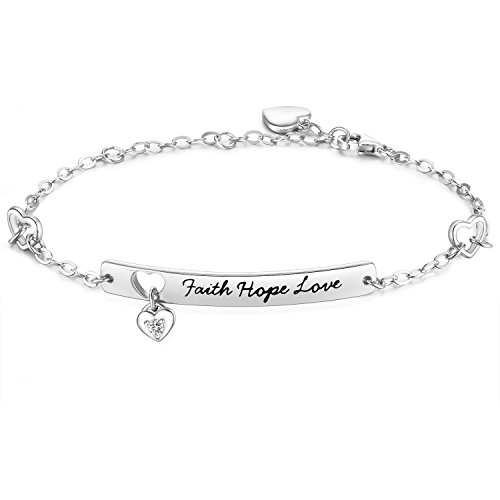 "NinaMaid ""Faith Hope Love"" Gravur 925 Sterling Silber Armband mit funkelnden Zirkonia Inspirational Schmuck 8 Inches"
