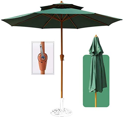 Ø8.8ft / 2.7m Garden Umbrella, Outdoor Waterproof Canopy Shade, With Imitation Wood Umbrella Pole And Double Polyester Fiber Cover, For Beach Pool Terrace Umbrella (Color : Green)