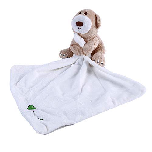 YYJDM-Baby Sicherheitsdecke, Plüschbär Baby Comfort Handtuch, weiches Plüsch Molar Handtuch Spielzeug mit Mundschutz und eingebauter Glocke, weiß