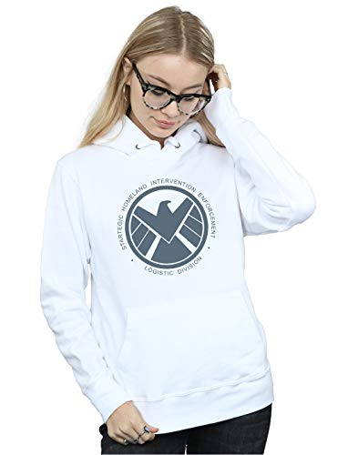 Marvel Mujer Agents of S.H.I.E.L.D. Logistics Division Capucha Blanco XX-Large