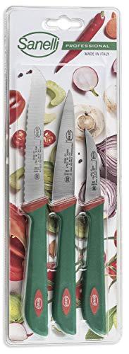 Juego de 3 cuchillos de frutas y verduras: cuchillo multiusos de 10 cm, tomate de 12 cm, verduras de 6 cm.