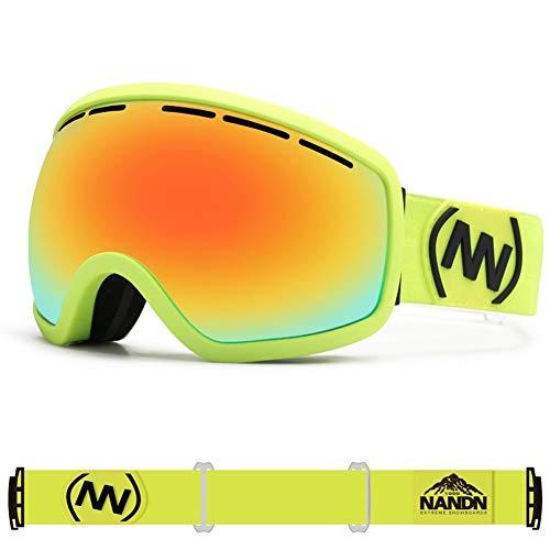 Wuio Unisex sneeuwbril, groot, sferisch, voor heren en dames, snowboarden, sport, skiën, dubbele lens, anti-condens-coating, professionele skibril