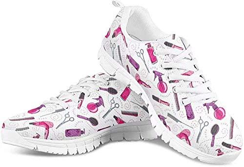 POLERO Herren Damen Laufschuhe Atmungsaktiv Turnschuhe Schnürer Sportschuhe Sneaker mit Cartoon Föhn Kamm Haarschneider Print Weiß 38 EU
