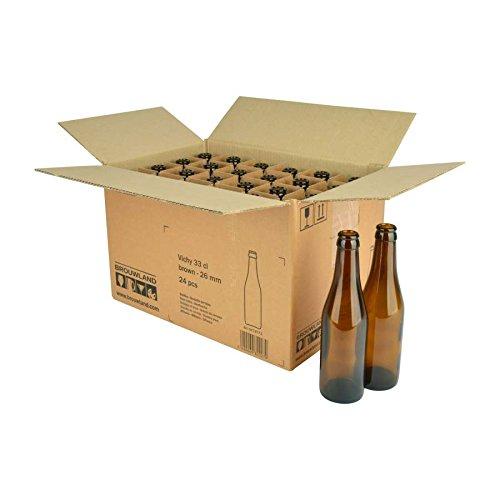 Botella de Cerveza Vichy 33Cl, en Caja de Cartón 24ST.–Reutilizables Marrón mehrwegflasche de Cristal Botella de Cerveza para 26mm Corona Corcho–0,33l