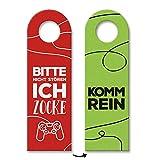 trendaffe - Nicht stören, ich zocke oder Komm rein Türhänger in rot-grün mit Zocker Motiv