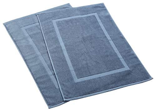 HILLFAIR 900 GSM-Hotel-Spa Tub-Shower Bath Mat Floor Mat - (2 Pack, Blue, 21 Inch by 34 Inch) - 100% Ringspun Cotton Bath Mat/Bath Rugs,Machine Washable Cotton Bath Mats - Terry Bath Mats/Rugs