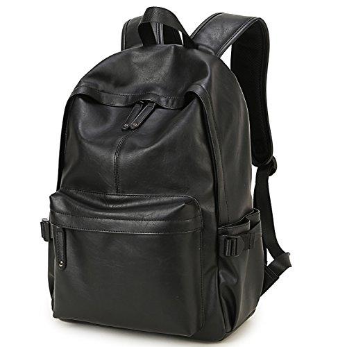 BAOSHA BP-20 Unisex PU Leder 15.6 Zoll Laptop Rucksack College Studenten Schultaschen für Jugendlich Jungen und Mädchen Outdoor Travel Backpack Schwarz