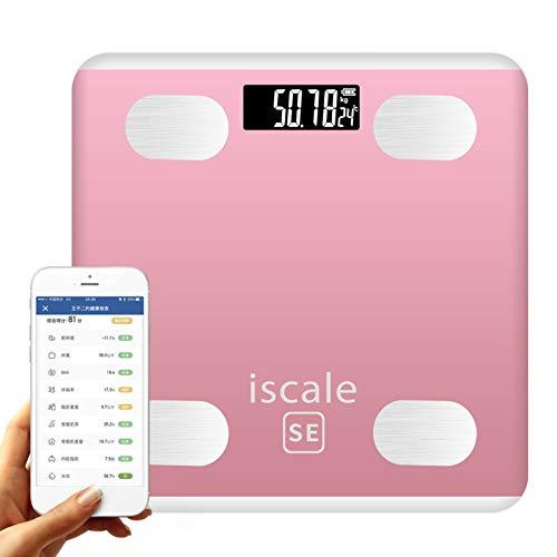 WSJS Smart Bluetooth Bathroom Scale Digital Body Fat Scales Body Composition Analyzer Mit Smartphone-App 26 Gesundheitsmessgeräte Larger LED Display 190KG Pink Grey,Pink