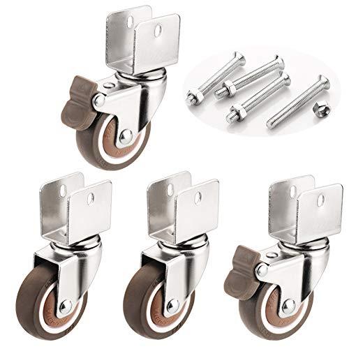 Geovne Schwenkrollen,Möbelrollen,Gummirollen mit Staubschutz,18mm/20mm/22mm/25mm,für Möbel,Stuhl Räder,Ersatz Trolley